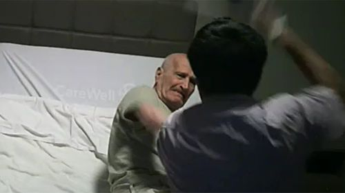 A secret camera planted by Mr Nabulsi's daughter captured Prakash Paudyal hitting the elderly dementia patient with a shoe.