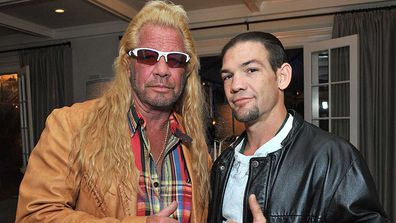 Dog the Bounty Hunter with his son, Leland in Los Angeles.