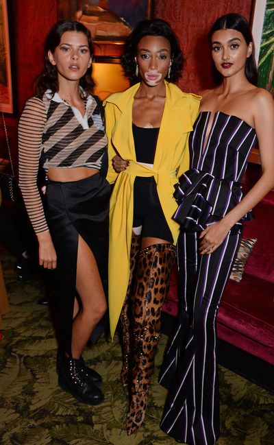 (L to R) Models Georgia Fowler, Winnie Harlow and Neelam Gill attend the 10th anniversary of Victoria Beckham after party.