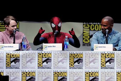 Andrew Garfield turned up to the panel for <i>The Amazing Spider-Man 2</i> dressed in the full getup.<br/><br/>Image: Getty