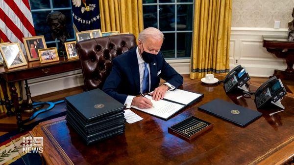 US President Joe Biden's first day in office