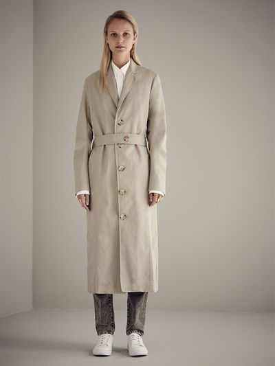 """<a href=""""http://www.bassike.com/women/jackets-coats/tuck-sleeve-utility-trench-pc17wfj28-taupe"""" target=""""_blank"""">Bassike</a> utility trench, $650<br />"""
