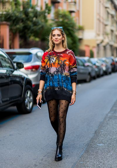 Chiara Ferragni outside No 21, Milan Fashion Week