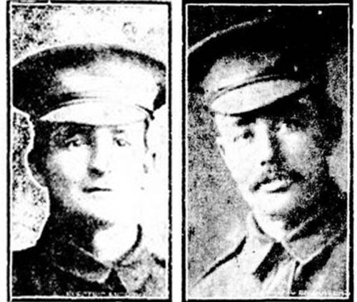 The remains of Private William (left) Edwin Boyce and Private Alexander McCulloch (right) have also been identified, and their graves will now be marked with their names. (Australian War Memorial)