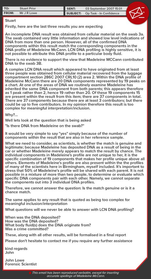 Email sent from Dr John Lowe of the Forensic Science Service (FSS) in the UK to police about DNA samples.