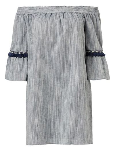 "<a href=""https://www.sportsgirl.com.au/new-in/off-shoulder-flare-sleeve-dress-denim"" target=""_blank"">Sportsgirl Urban Folk Off Shoulder Flare Sleeve Dress, $109.95.</a>"