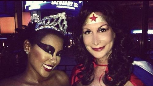 Chandler, as Wonder Woman, poses with a friend. (Facebook)