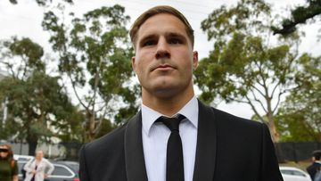 St George Illawarra Dragons player Jack de Belin arrives at Wollongong Local Court, Monday, 2 November 2020. De Belin was charged with raping a 19-year-old woman in a Wollongong apartment at the end of 2018, and has pleaded not guilty to five counts of aggravated sexual assault. Photo: Sam Mooy/The Sydney Morning Herald
