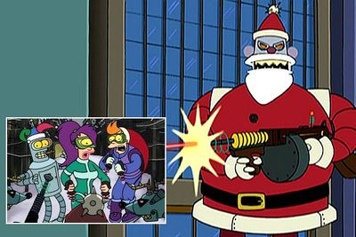 In the episode 'Xmas Story', time-traveller Fry learns that Christmas has evolved in the 31st century. Not only have pine trees been replaced by palms... but cuddly, good-natured Santa Claus has been replaced by the murderous Robot Santa (voiced by John Goodman), who terrorises Earth once a year because of a programming glitch that makes him think <I>everyone</I> is naughty (except Dr Zoidberg). Robot Santa returns in the later instalments 'A Tale of Two Santas' and 'Bender's Big Score'.