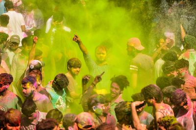 Tourists celebrate Holi with Pushkar local people.The festival celebrates love and victory.