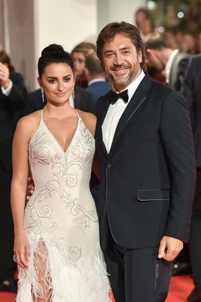 Penelope Cruz in Atelier Versace and Javier Bardem at the 2017 Venice Film Festival