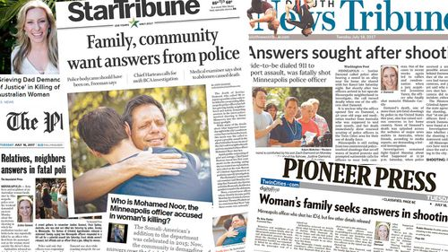Newspapers covering the death of Justine Ruszczyk.