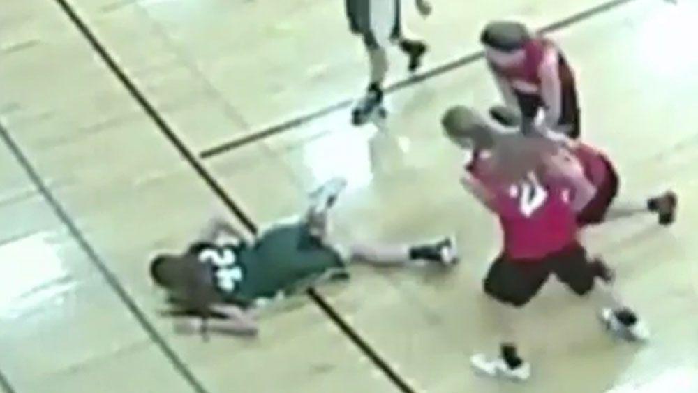 Basketballer impaled on floorboard