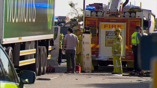 A stolen ute is believed to be at the centre of the three vehicle smash.