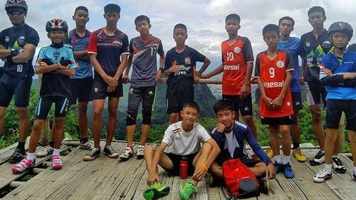 The 12 Thai boys and their coach before they went into the cave. Picture: Supplied.