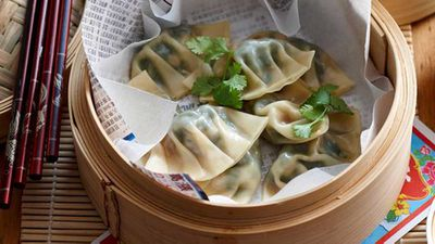 "Recipe:&nbsp;<a href=""http://kitchen.nine.com.au/2016/05/16/12/52/steamed-prawn-and-watercress-dumplings"" target=""_top"">Steamed prawn and watercress dumplings</a>"