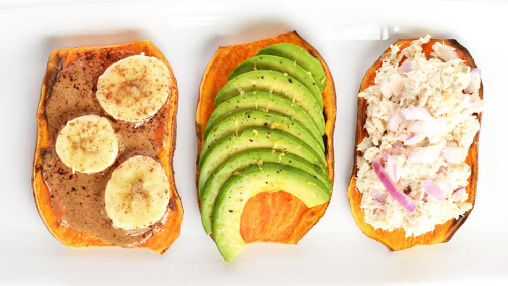 Sweet potato toast with three toppings. Image: littlebitsof.com