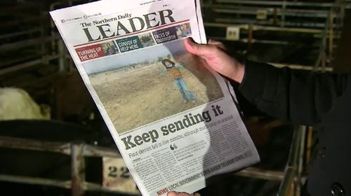 Beau Rossiter made the front page of the local newspaper. Picture: 9NEWS