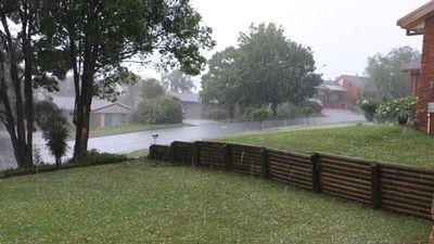 Hail in a Baulkham Hills backyard. (Supplied / Lawrence)