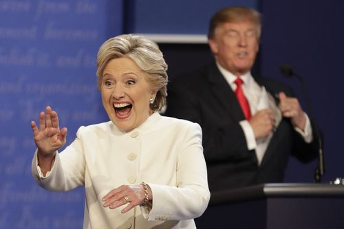 Hillary Clinton and Donald Trump debate the issues during the 2016 US election campaign.
