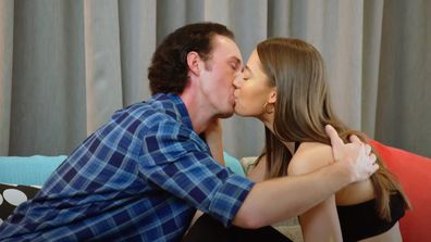 James goes in for a kiss with Jess