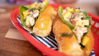 Creamy and spicy yellow nectarine and prawn soft rolls