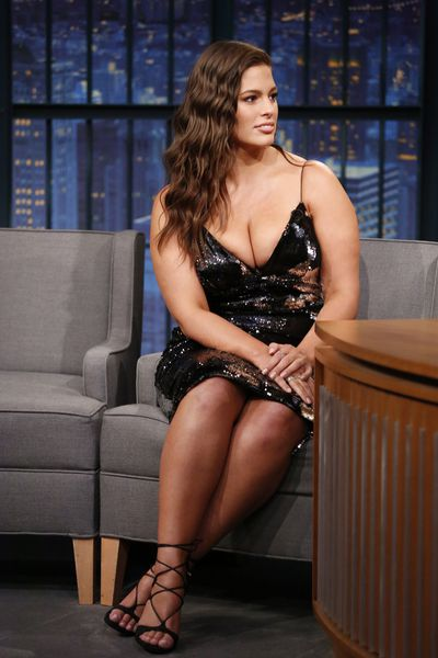 Ashley Graham with daring cleavage on <em>Late Night With Seth Meyers</em> last week.