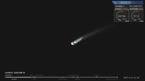 In this image made from video provided by SpaceX, a SpaceX Falcon 9 rocket carrying an Argentinian satellite blasts off from the Vandenberg Air Force Base launch site, about 130 miles (209 kilometers) northwest of Los Angeles