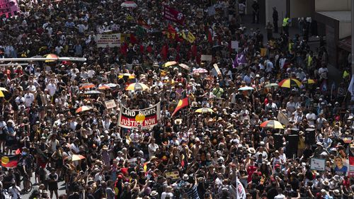 Crowds at the Invasion Day march in Sydney on January 26, 2020.