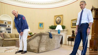Putting practice with Bill Murray in the Oval Office.
