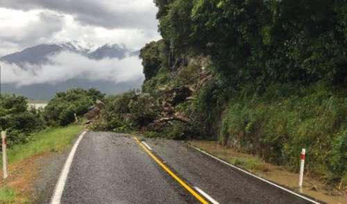 Several roads are blocked after severe weather caused landslides across parts of the South and North Islands.