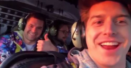 Trevor Cadigan (right) and Brian McDaniel in a video taken moments before the chopper went down. (Instagram)