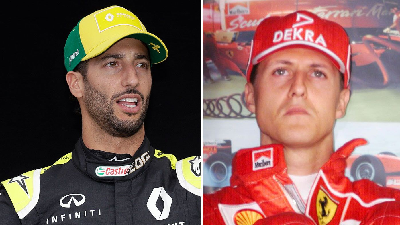 Daniel Ricciardo (left) and Michael Schumacher.