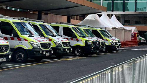 Ambulances lined up outside Sunshine Hospital in Melbourne.