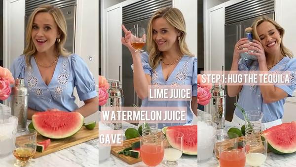 Reese Witherspoon Watermelon Margarita tutorial