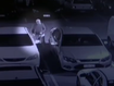 CCTV footage captured the alleged drink driver get in his car at the Inglewood Hotel carpark and ram two parked cars, sending one through a neighbouring fence.
