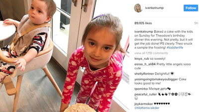 Ivanka also posted this adorable image of daughter Arabella Rose showing off the cake she and her mother had made earlier. And then the celebrations began.