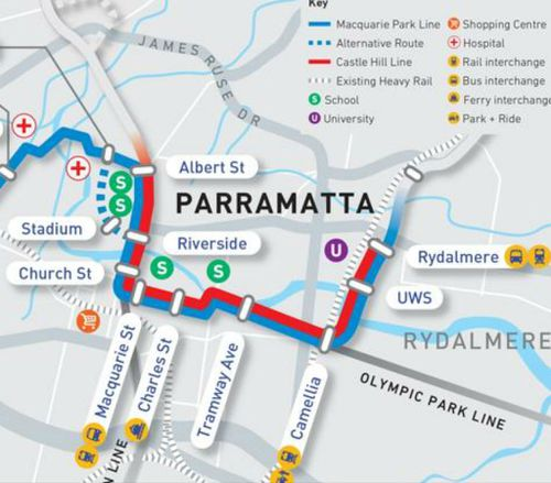 The government has outlined four options on the table for routes going out of Parramatta. (Supplied, Transport for NSW)