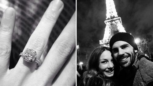 A shot of Coulter's engagement ring (left) and Coulter with Harrison during a previous visit to Paris. (Instagram)