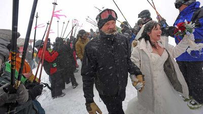 <p>The marriage of Crystal and Scott Morrell in 2012 was an uplifting experience when they were married on a Colorado ski lift at the slopes where they both worked.</p>