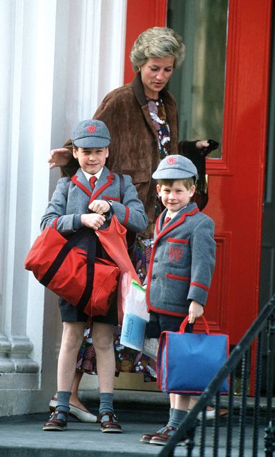 Diana outside school with William and Harry in 1990.