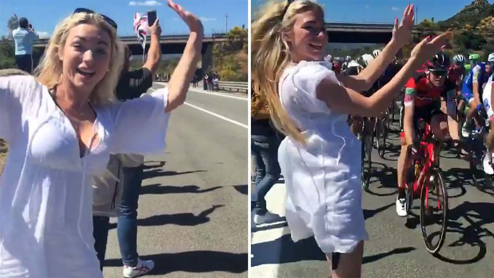 Playboy model April Summers almost causes Giro d'Italia crash