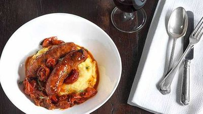 """<p>Recipe:&nbsp;<a href=""""https://kitchen.nine.com.au/2016/05/16/16/59/sausages-with-roasted-onion-tomato-and-polenta"""" target=""""_top"""" draggable=""""false"""">Sausages with roasted onion, tomato and polenta</a>.</p>"""