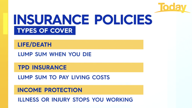 The three types of life insurance include; Life/Death cover, TPD insurance and income protection.