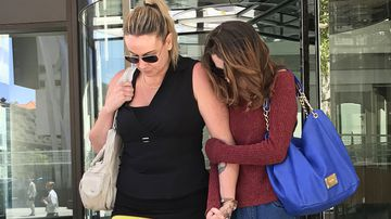Aimee Cummins (right) leaves Perth Magistrates Court on Wednesday, January 16, 2019 after she was sentenced to seven months in prison, suspended for 12 months, for receiving a meerkitten her friend stole from Perth Zoo