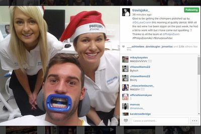 @travisjake_: Glad to be getting the chompers polished up by @DrLukeCronin this morning at quality dental. With all the red wine i've been sippin on the past week, he had a bit to work with but i have came out sparkling! Thanks to all the team at @PhilipsZoom<br/>#PhilipsZoomAU #8shadeswhite
