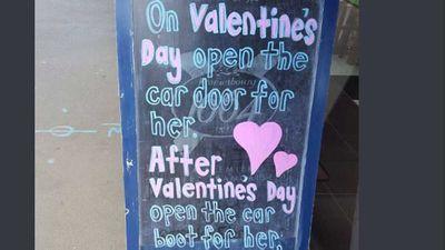Restaurant slammed for offensive Valentine's sign