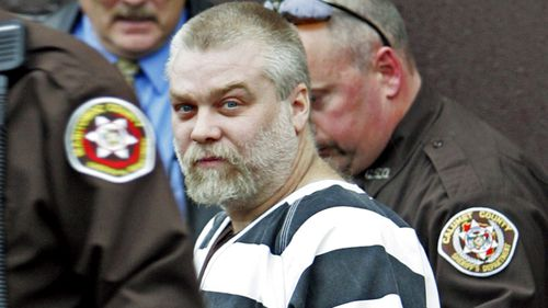 Steven Avery is escorted out of the Manitowoc County Courthouse in 2005.