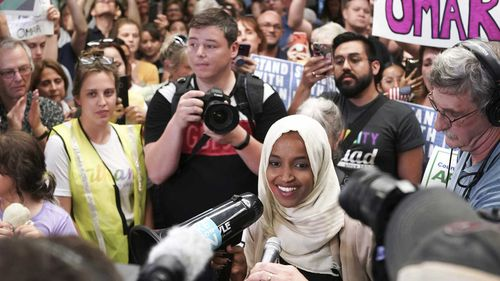 Ilhan Omar was welcomed to her hometown of Minneapolis by a crowd of supporters.
