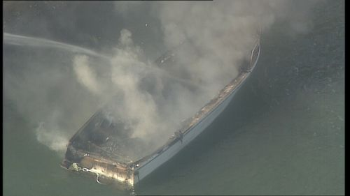 The boat reportedly exploded into flames shortly before 9am this morning.